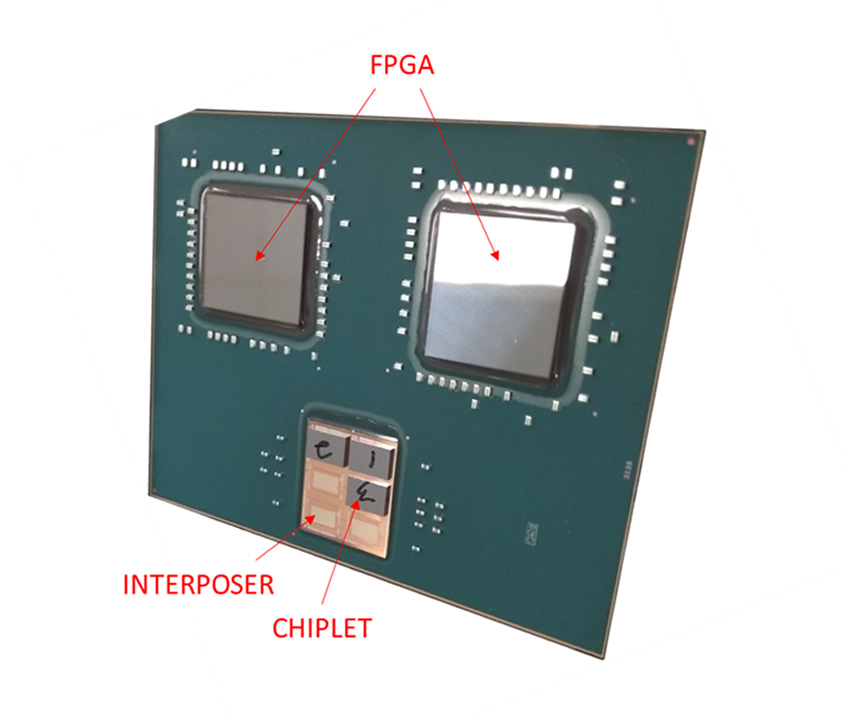 Single ExaNoDe Multi-chip module (MCM) with FPGAs, interposer and chiplet